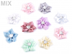 Aplicatii Textile Mixed Satin Flower with Rhinestone Heart, diameter 5 cm (10 pcs/pack)