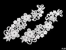 Aplicatii Vestimentare, Multicolore, lungime 17.5 cm (4 bucati/pachet) Flori Negre Aplicatie din Dantela (6 bucati/pachet) Cod: 180917