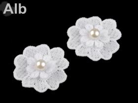 Aplicatie Brodata, lungime 29 cm (6 buc/pachet) Cod: 11644 Flori din Dantela cu Perla, diametru 4 cm (10 bucati/pachet) Cod: 180879