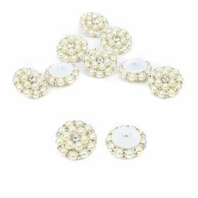 Croitorie Nasturi cu Picior Decorati cu Perle si Strasuri, 35 mm  (10 buc/pachet) Cod: BT0725