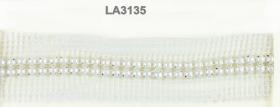 Raq 02  Auriu (16.4 m/rola) Banda cu Perle in Montura, 4 cm, Alba (9.144 m/rola)  LA3135