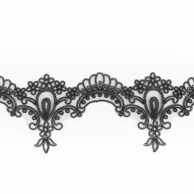 Pasmanterie cu Fir Metalic si Strasuri, latime 7.5 cm (9.25 m/rola)Cod:  LA1071 Banda Dantela Brodata, 110 mm, Alb, Negru (9 metri/rola) Cod: 13500