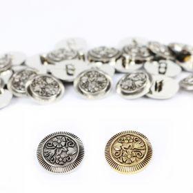 Nasturi cu Doua Gauri 11HB-H618, Marimea 40, Argintiu(100 buc/pachet) Nasturi Metalizati, cu Picior, din Plastic (100 bucati / pachet) Cod: 2569
