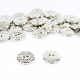 Nasturi A646, Marimea 40 (100 buc/pachet)  Nasturi Metalizati, cu Doua Gauri, din Plastic (100 bucati/pachet) Cod: 2620