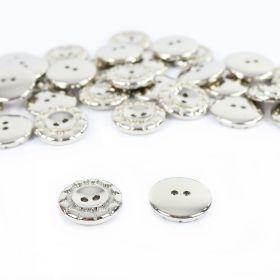 Nasturi cu Patru Gauri 11HB-H614, Marimea 20, Aurii (100 buc/pachet) Nasturi Metalizati, cu Doua Gauri, din Plastic (100 bucati/pachet) Cod: 2620
