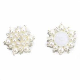 Nasturi cu Picior B5431, Marimea 24 (100 buc/pachet)   Shank Buttons with Pearls and Beads, 4 cm, Cream (6 pcs/pack) Code: BT0833