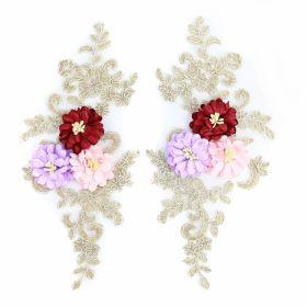 Aplicatii Textile Applique with 3D Flowers, length 25 cm (3 pair/pack) Code: DT126
