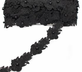 Dantela, latime 18 mm  (13,72 m/rola)Cod: 0575-1113 Border Lace Embroidered, 4.5 cm (30 yds/roll) Code: A015-0015