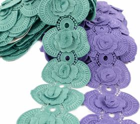 Dantela, latime 18 mm  (13,72 m/rola)Cod: 0575-1113 Border Lace Embroidered 3D, 10 cm (13.5 m/roll) Code: A012-0109