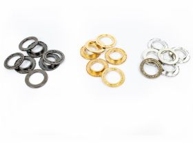 Ocheti si Saibe de 7 mm (1000 seturi/pachet) Eyelets and Washers, Metal, 23 mm (200 sets/pack)