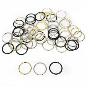 Reglor Sutien, 15 mm, Auriu, Negru, Argintiu (100 bucati/pachet)  Inele Sutien, Metal, diametru interior 18 mm, (100 bucati/punga)Cod: MH18