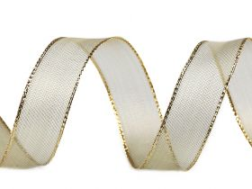 Banda Decorativa Panglica cu Lurex si Intaritura de Sarma pe Margini, 25 mm (18 metri/rola) Cod: 430295