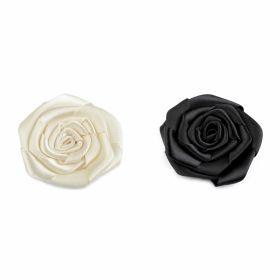 Aplicatii Vestimentare Trandafiri din Satin, diametru 5.5 cm (10 bucati/pachet)Cod: 390515