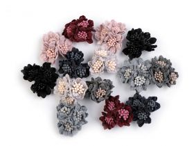 Aplicatii Textile Decorative Wool Flower with Pistil, diameter 35 mm (2 pcs/pack)Code: 780160