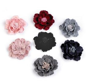Aplicatii Textile Decorative Wool Flower with Pistil, diameter 60 mm (2 pcs/pack)Code: 780161