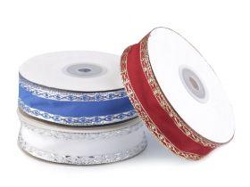 Banda Decorativa Poliester Radu 25 mm ( 100 metri/rola ) Panglica cu Lurex si Intaritura de Sarma pe Margini, latime 25 mm (18 m/rola) Cod: 430305