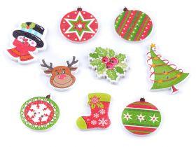 Nasturi Decorativi din Lemn Nasturi decorativi din lemn, motive Crăciun (25 bucati/pachet) Cod: 120512