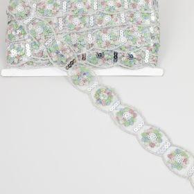 Banda Dantela Brodata 3D, 16 cm (12.50 metri/rola) Cod: A012-0048 Dantela cu Paiete, latime 33 mm (19.65 metri/rola)Cod: LA2070