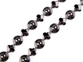 Pasmanterie 2504-06 Argintie (500 metri/rola)  Banda Decorativa cu Perle si Trifoi, 15 mm (9 metri/rola)Cod: 510537