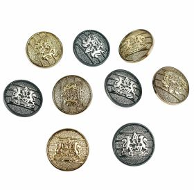 Nasturi Metalizati, cu Picior, din Plastic, marime 24 (144 bucati/pachet) Cod: B6301 Plastic Metallized Shank Buttons, size 40 (100 pcs/pack) Code: S701
