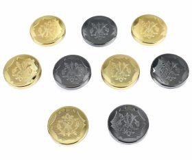 Nasturi cu Doua Gauri 11HB-H618, Marimea 34, Argintiu(100 buc/pachet) Nasturi Metalizati, cu Picior, din Plastic, marime 44 (100 bucati/pachet) Cod: S632