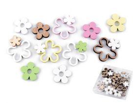 Nasturi Decorativi din Lemn Flori din Lemn Decorative, 35x40 mm (24 buc/cutie)Cod:780971