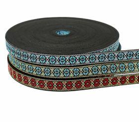 Banda Decorativa, Ripsata, Bias Pasmanterie Decorata cu Fir Metalic, latime 13 mm (25 metri/rola)Cod: ANCA