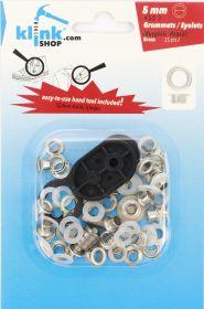 Capse, Matrite, Prese si Accesorii Set Ocheti 5 mm + Dispozitiv Montare (25 piese/pachet)