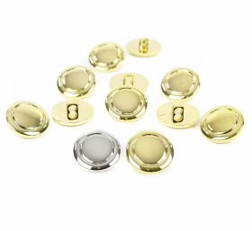 Nasture Plastic Metalizat JU049, Marime 34, Auriu (100 buc/punga)  Nasturi Metalizati, cu Picior, din Plastic 25 mm (50 bucati/pachet) Cod: 2122