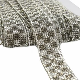 Pasmanterie Iron-on Trim/Border with Rhinestones, 22 mm (10 yards/roll)Code: YK-T004