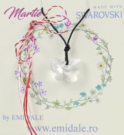 Martisoare la 5.00 Lei  Martisor cu Pandantiv Swarovski, 18 mm, Crystal (1 bucata) Cod: 6754
