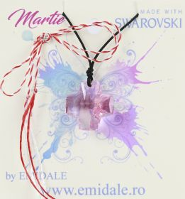 Martisoare la 5.00 Lei  Martisor cu Pandantiv Swarovski, 20 mm, Light Rose (1 bucata) Cod: 6866