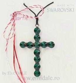 Martisor Pandantiv Swarovski, 34x50 mm, Emerald (1 bucata)Cod: 14221
