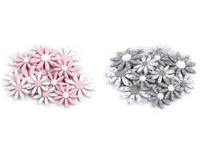 Aplicatii de Cusut, Model Floare (25 buc/pachet) Flori Autoadezive din Lemn (24 bucati/pachet)