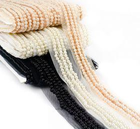 Pasmanterie Pasmanterie cu Perle si Margele Cusute pe Tul (9.20 m/rola)Cod:C17533A