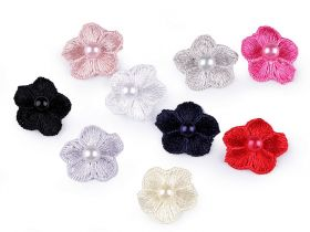 Decorare Flori Brodate cu Perla, diametru 20 mm (10 buc/pachet) Cod: 400098