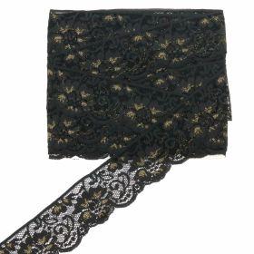 Pasmanterie cu Fir Metalic si Strasuri, latime 7.5 cm (9.25 m/rola)Cod:  LA1071 Dantela Elastica cu Fir Auriu, latime 63 mm (10 m/rola)Cod: 1715