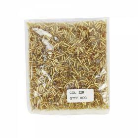 Decorare Margele Tubulare din Sticla, Culoare: Auriu 22B (100 gr/punga)