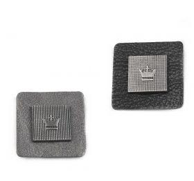 Etichetare Emblema din Piele Ecologica si Metal, 30 mm (10 bucati/punga) Cod 390599