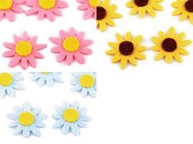 Aplicatii si decoratiuni pentru haine Aplicatii de Cusut din Fetru, Model Floare, diametru 3 cm(5 buc/pachet)Cod: 780122