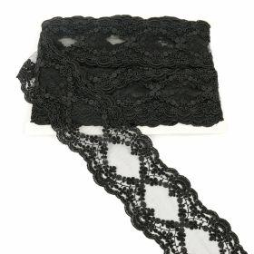 Decorare Banda Dantela Brodata, 10 cm, Negru (9 metri/rola) Cod: 11229