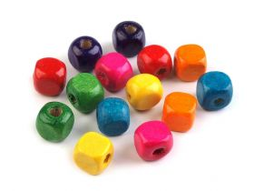 Perle Sirag, Strasuri, Margele Margele Cubice din Lemn, 8x8 mm (100 buc/punga)Cod: 200496