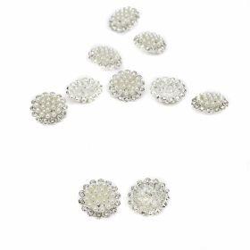 Nasturi Metalici cu Strasuri si Perle, Marime 20 mm (10 bucati/pachet)Cod: BT1151