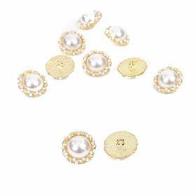 Nasturi Metalici cu Perle, Marime 20 mm (10 bucati/pachet)Cod: BT1171