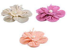 Aplicatii si decoratiuni pentru haine Flori textile cu perla, Ø53 mm (10 bucati/pachet) Cod: 390616