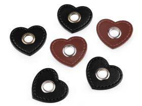 Aplicatii si decoratiuni pentru haine Aplicatie inima din piele ecologica cu ochi, cusuta (20 bucati/pachet) Cod: 840487