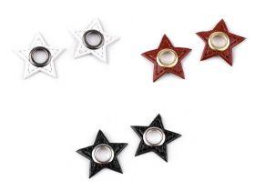 Aplicatii si decoratiuni pentru haine Aplicatie stea din piele ecologica cu ochi, cusuta (20 bucati/pachet) Cod: 840488