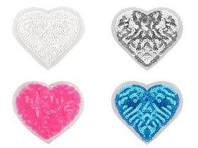 Embleme Termoadezive cu Paiete, Inima (10 bucati/pachet) Cod: 390997