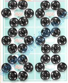 Capse de Cusut, 8 mm, Negru, Nichel (8 folii/cutie)Cod: 555-0 Sewing Snap Fasteners, 11 mm, Black, Nickel (8 sheets/pack)Code: 555-2