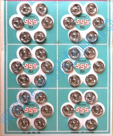 Capse de Cusut, 8 mm, Negru, Nichel (8 folii/cutie)Cod: 555-0 Sewing Snap Fasteners, 8 mm, Black, Nickel (8 sheets/pack)Code: 555-0